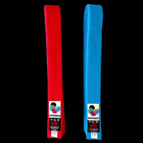 cinturon kumite rojo azul